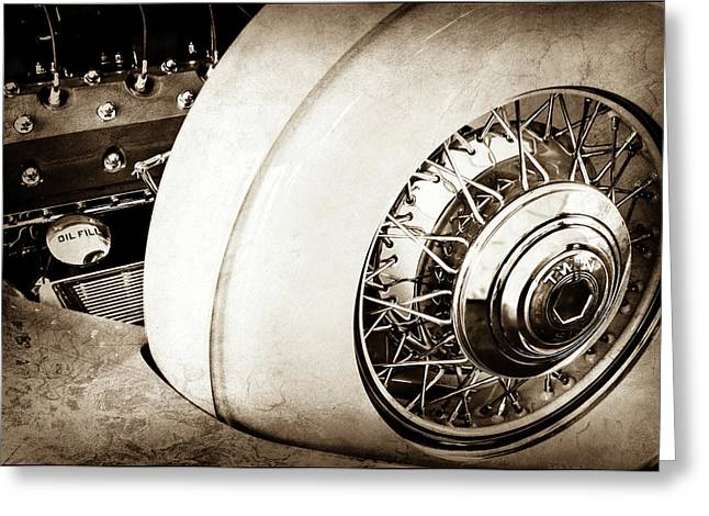 1932 Packard Dual Cowl Phaeton Engine - Spare Tire -0707s Greeting Card by Jill Reger