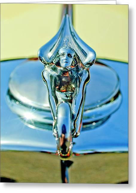 1932 Packard Hood Ornament 3 Greeting Card