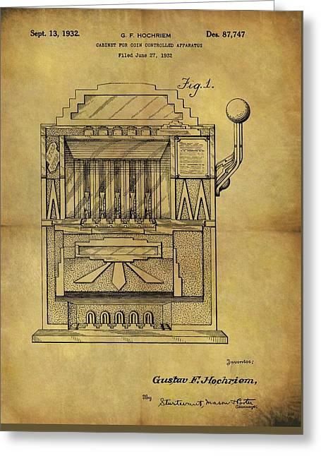 1932 Slot Machine Patent Greeting Card