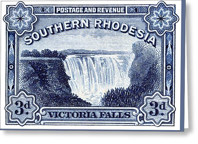 Greeting Card featuring the painting 1932 Southern Rhodesia Victoria Falls Stamp by Historic Image