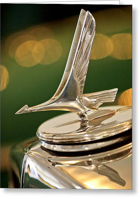 Vintage Hood Ornaments Greeting Cards - 1932 Studebaker Dictator Custom Coupe Hood Ornament Greeting Card by Jill Reger