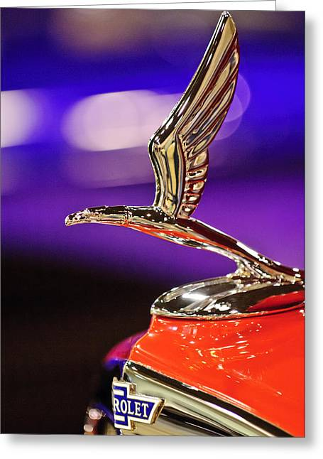 1933 Chevrolet Hood Ornament Greeting Card by Jill Reger