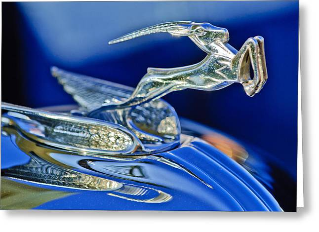 1933 Chrysler Imperial Hood Ornament Greeting Card by Jill Reger