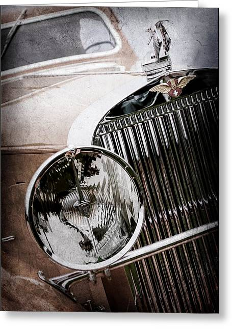 1933 Hispano-suiza J12 Vanvooren Coupe Grill Emblem - Hood Ornament -0777ac Greeting Card by Jill Reger
