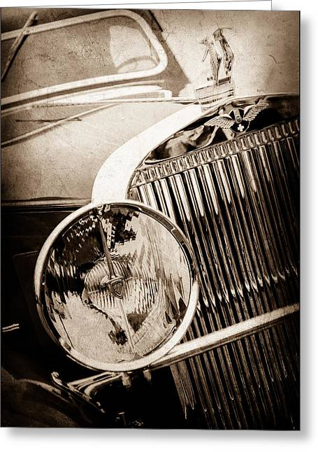 1933 Hispano-suiza J12 Vanvooren Coupe Grill Emblem - Hood Ornament -0777s Greeting Card by Jill Reger
