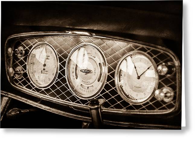 1933 Lincoln Kb Judkins Coupe Dashboard Instrument Panel -0159s Greeting Card