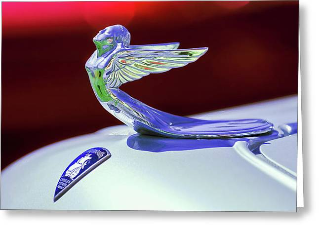 Greeting Card featuring the photograph 1933 Plymouth Hood Ornament -0121rc by Jill Reger