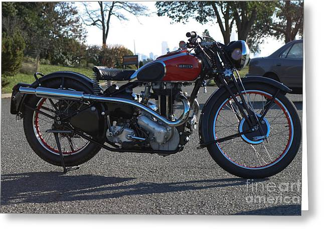 1934 Ariel Motorcycle Side View Greeting Card by Robert Torkomian