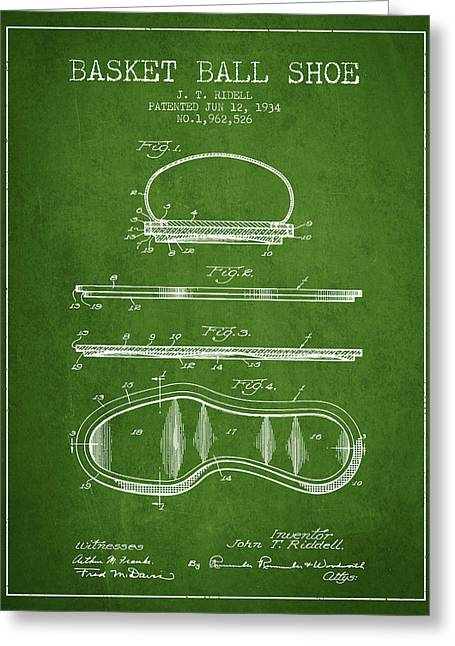 1934 Basket Ball Shoe Patent - Green Greeting Card by Aged Pixel