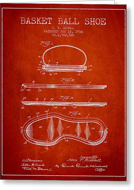 1934 Basket Ball Shoe Patent - Red Greeting Card by Aged Pixel