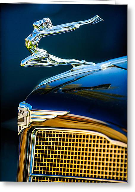 1934 Buick Series 96-c Convertible Coupe Hood Ornament - Emblem Greeting Card