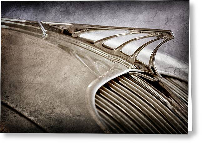 Greeting Card featuring the photograph 1934 Desoto Airflow Coupe Hood Ornament -2404ac by Jill Reger