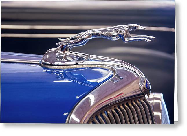 Greeting Card featuring the digital art 1934  Ford Greyhound Hood Ornament by Chris Flees