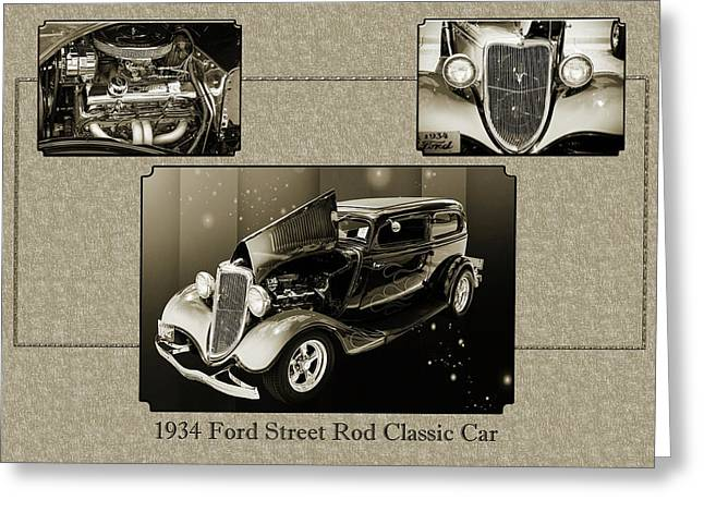 1934 Ford Street Rod Classic Car 5545.51 Greeting Card by M K  Miller