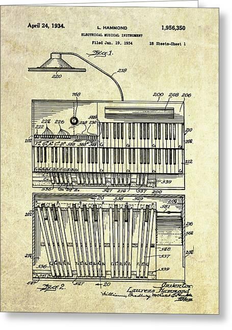 1934 Hammond Organ Patent Art Greeting Card