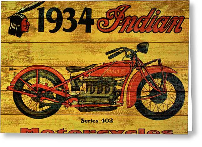 1934 Indian Motorcycle  Greeting Card by Dan Sproul