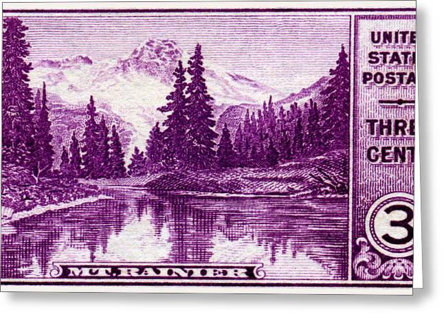1934 Mount Rainier Stamp Greeting Card