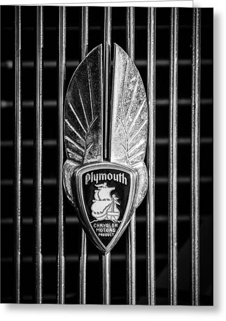 Vintage Hood Ornament Greeting Cards - 1934 Plymouth Emblem 2 Greeting Card by Jill Reger