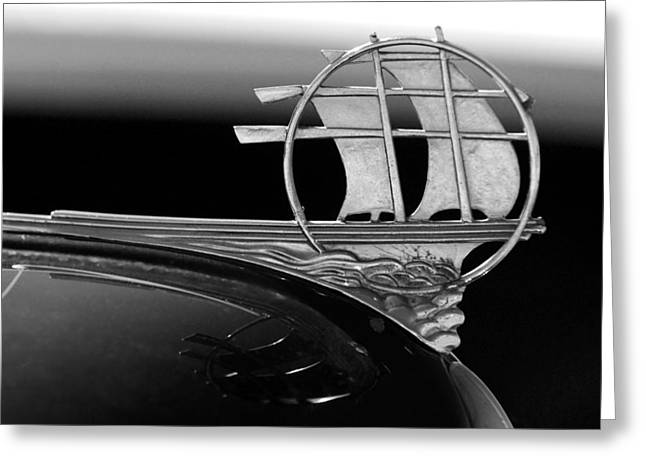 1934 Plymouth Hood Ornament Black And White Greeting Card by Jill Reger