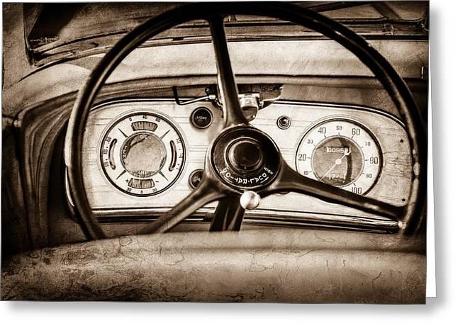 1935 Auburn 851 Supercharged Boattail Speedster Steering Wheel -0862s Greeting Card