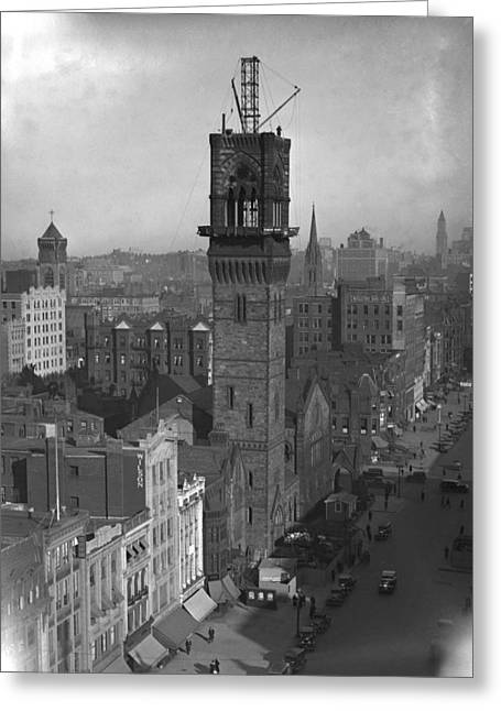 Greeting Card featuring the photograph 1935 Back Bay Construction, Boston by Historic Image