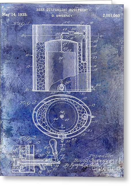 1935 Beer Equipment Patent Blue Greeting Card by Jon Neidert