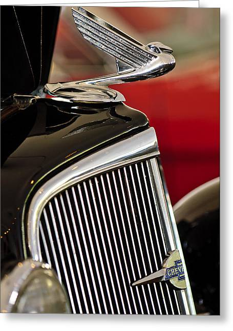 1935 Chevrolet Optional Eagle Hood Ornament Greeting Card by Jill Reger