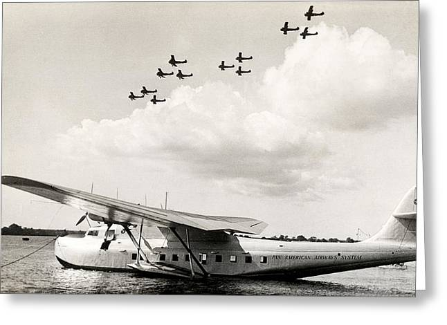 1935 China Clipper In Hawaii Greeting Card by Historic Image