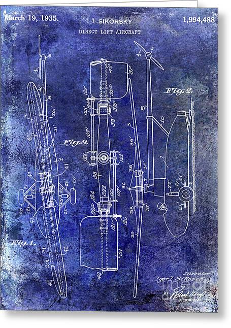 1935 Helicopter Patent Blue Greeting Card by Jon Neidert