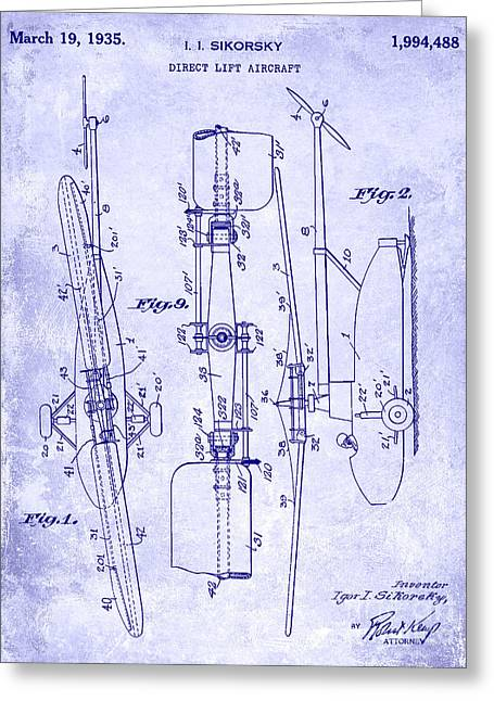 1935 Helicopter Patent Blueprint Greeting Card by Jon Neidert