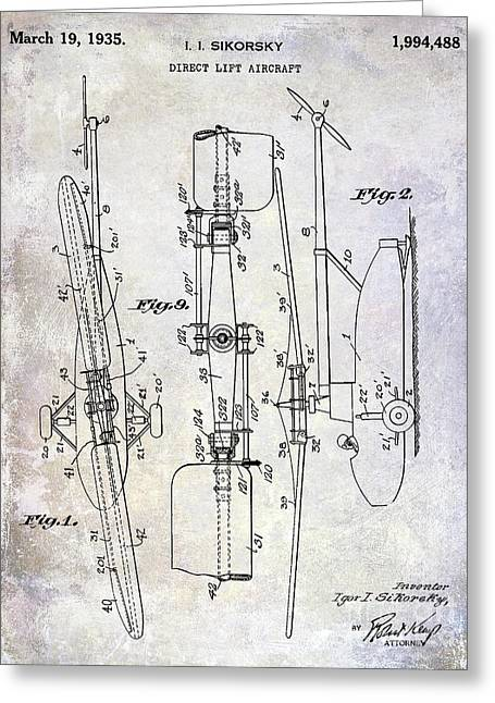 1935 Helicopter Patent  Greeting Card by Jon Neidert