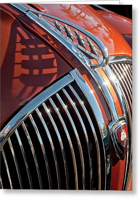 1935 Plymouth Hood Ornament Greeting Card by Jill Reger