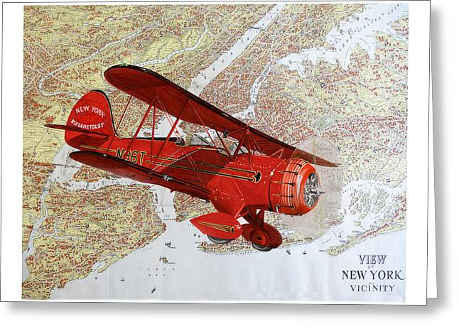 1935 Sightseeing Waco Bi Plane  Greeting Card by Jack Pumphrey