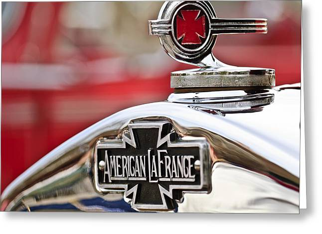 Collector Hood Ornament Greeting Cards - 1936 American LaFrance Fire Truck Hood Ornament Greeting Card by Jill Reger