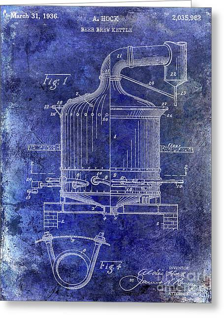 1936 Beer Brew Kettle Patent Blue Greeting Card