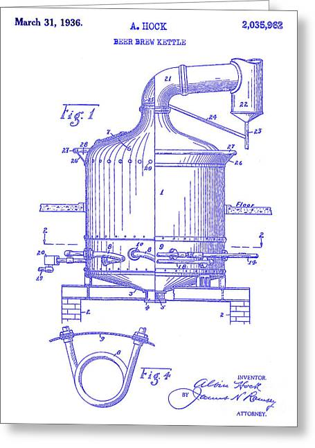 1936 Beer Brew Kettle Patent Blueprint Greeting Card by Jon Neidert