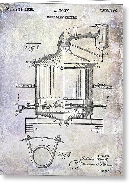 1936 Beer Brew Kettle Patent Greeting Card by Jon Neidert