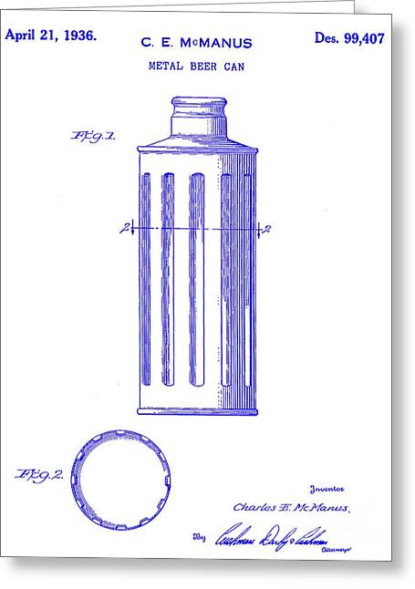 1936 Beer Can Patent Blueprint Greeting Card