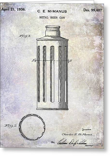 1936 Beer Can Patent Greeting Card by Jon Neidert