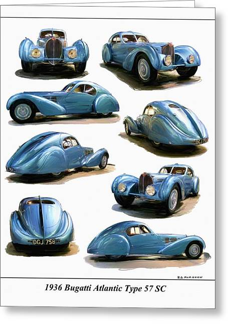 1936 Bugatti Atlantic Type 57 Sc Greeting Card