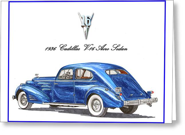 Greeting Card featuring the painting 1936 Cadillac V-16 Aero Coupe by Jack Pumphrey