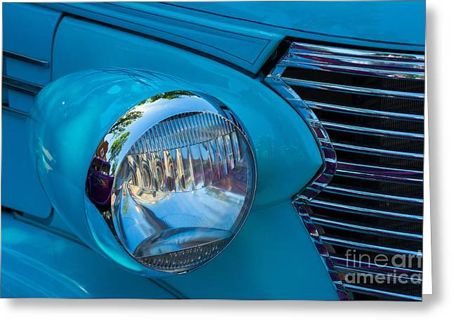1936 Chevy Coupe Headlight And Grill Greeting Card