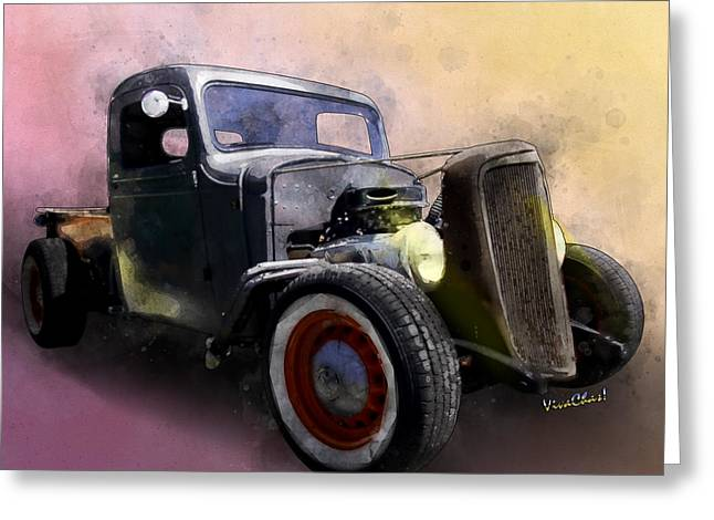 1936 Chevy Rat Rod Pickup Watercolour Greeting Card