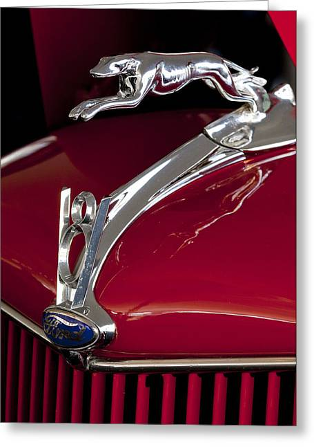 1936 Ford 68 Pickup Hood Ornament Greeting Card by Jill Reger