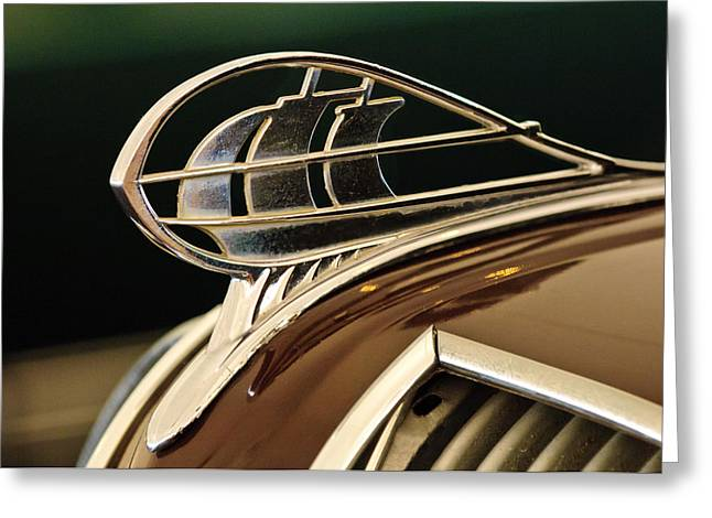 1936 Plymouth Sedan Hood Ornament Greeting Card by Jill Reger