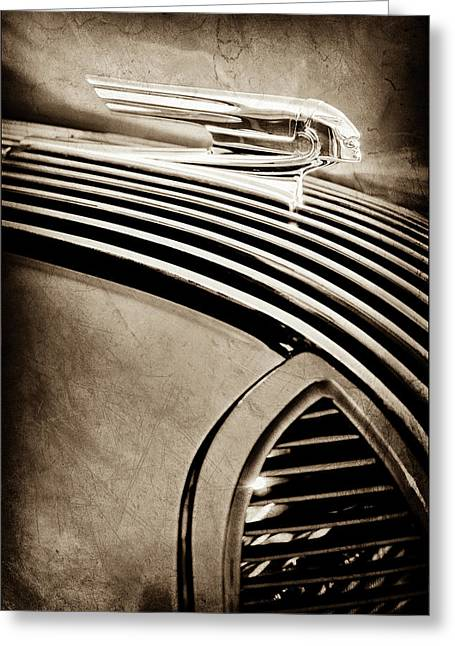 Greeting Card featuring the photograph 1936 Pontiac Hood Ornament -1140s by Jill Reger