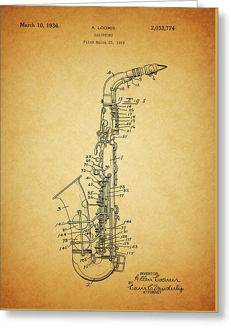 1936 Saxophone Patent Greeting Card by Dan Sproul