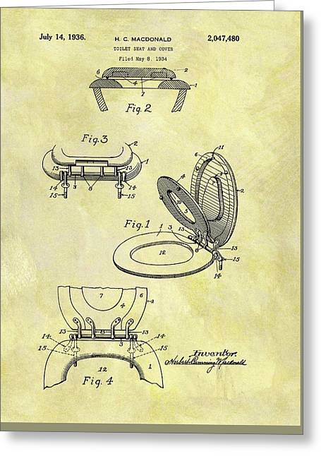 1936 Toilet Seat Patent Greeting Card by Dan Sproul