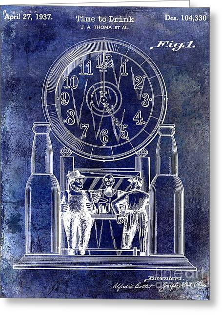 1937 Beer Clock Patent Blue Greeting Card by Jon Neidert