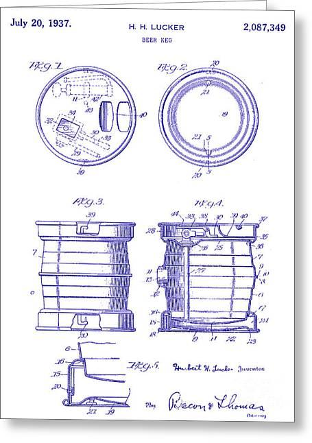 1937 Beer Keg Patent Blueprint Greeting Card